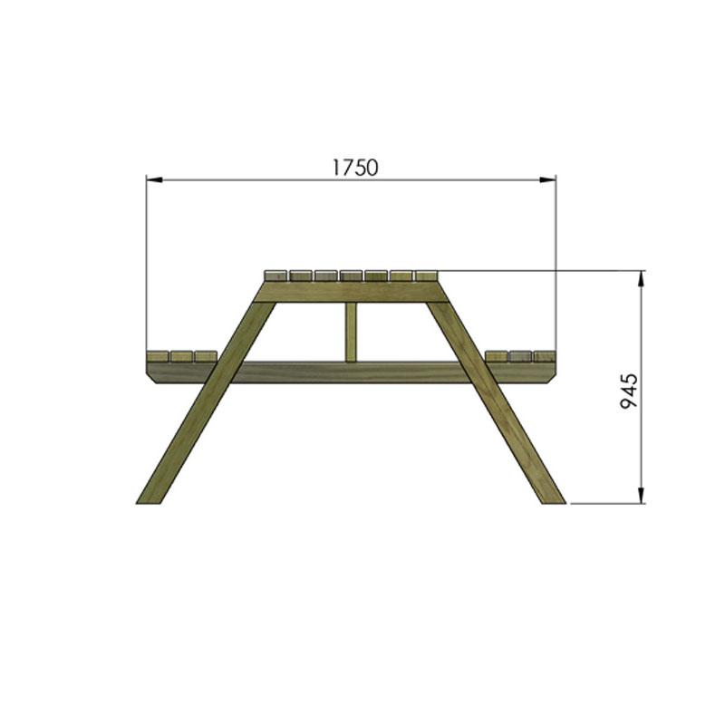 Profil de la table pique nique en bois littoral