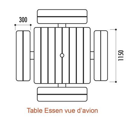 Table de pique-nique en bois carré