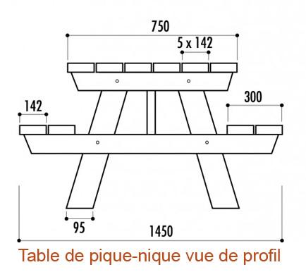 Table de jardin en bois résistant à l'eau
