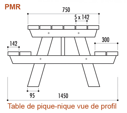 Table de jardin en bois pour personnes à mobilité réduite