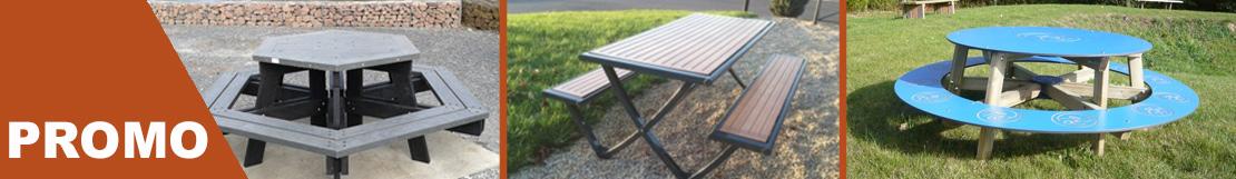 Profitez de nos offres exceptionnelles sur nos tables de pique nique. pour collectivités, professionnels et particuliers